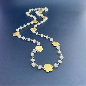 Moonstone Long Rosary Chain 14k Gold Necklace